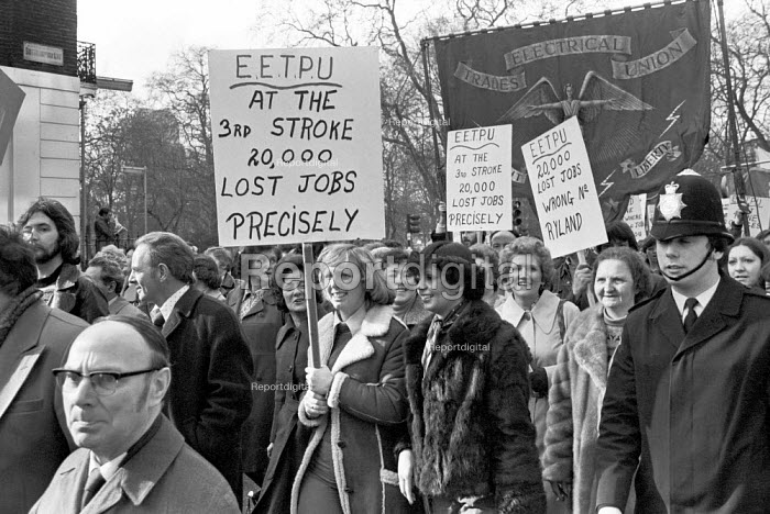 Protest against job cuts in the telecommunications industry, London 1977 - NLA - 1977-02-14