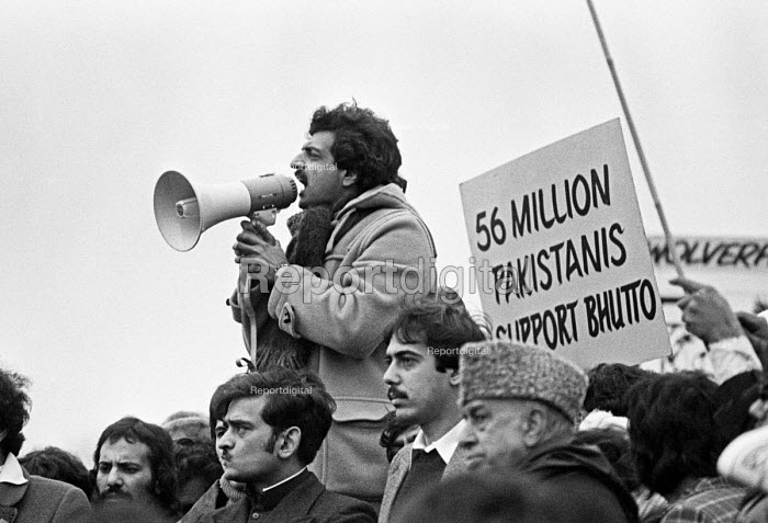 Tariq Ali speaking to a rally at Pakistan Embassy 1979 against the planned execution of former prime minister Zulfikar Ali Bhutto under the military dictatorship of General Zia Ul-Haq - NLA - 1979-02-11
