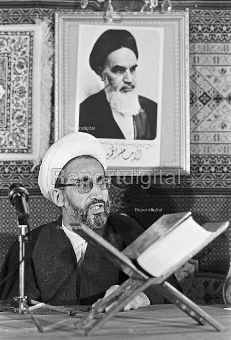 Grand Ayatollah Hossein Noori-Hamedani, Press conference, London 1979. Iranian Twelver Shi'a Marja, hard line cleric and trusted ally to Ayatollah Khomeini in the Iranian revolution - NLA - 1979-09-05