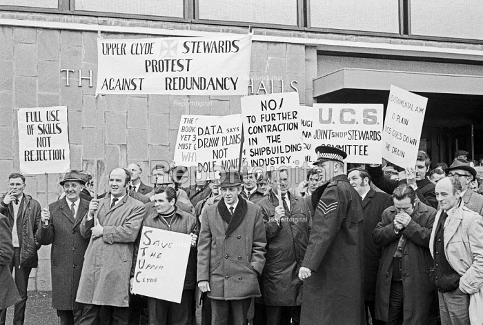 Upper Clyde Shipbuilders (UCS) 1970 workers lobby a union meeting against redundancies - NLA - 1970-04-24