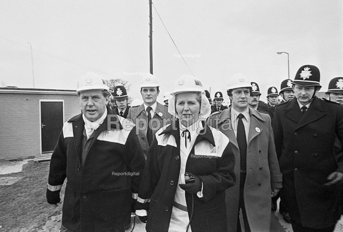 Margaret Thatcher visiting the Selby coalfield, 1980 surrounded by police, Wistow colliery, Yorkshire - NLA - 1980-03-14