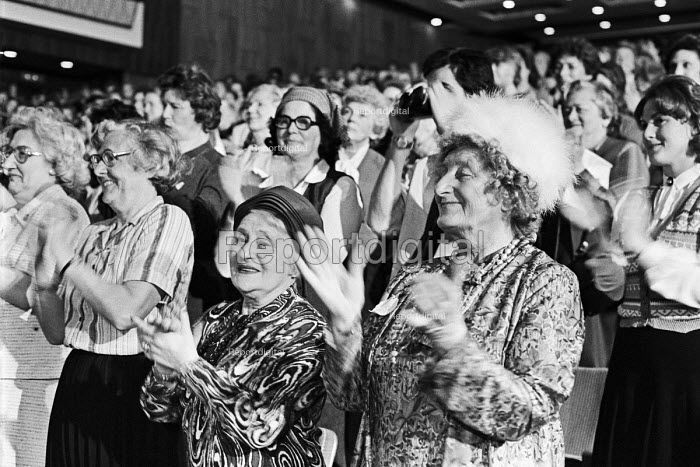 Conservative Party Womens Conference, 1980 women applauding Margaret Thatcher, Festival Hall, London - NLA - 1980-05-21