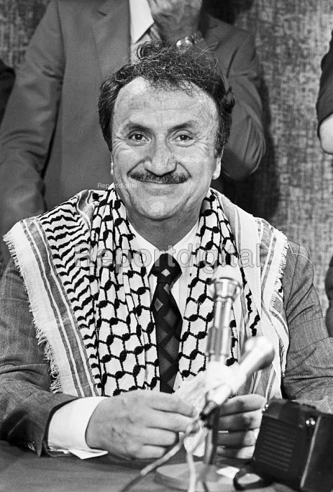 Bassam Shakaa 1980 in UK to have new legs fitted after they were blown off in an Israeli bomb attack. He was elected mayor of Nablus in 1976, until dismissed from office by Israeli authorities - NLA - 1980-08-17