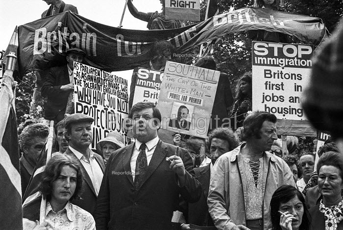 Martin Webster, National Front, speaking, 1972 meeting of Smithfield porters and sundry racist hangers on, before a march in support of Enoch Powell and in protest at the arrival of Ugandan Asians - NLA - 1972-09-07