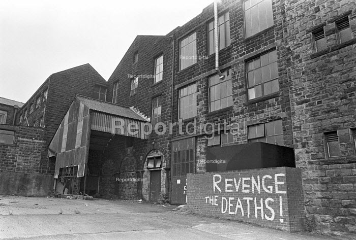 Revenge the Deaths! Asbestos graffiti Cape Insulation Ltd factory, Acre Mill, Hebden Bridge, Yorkshire, 1978. Asbestos for gas masks and other purposes was made at the factory. Hundreds of wortkers subsequently died from asbestosis, mesothelioma and lung cancer. In March 1976 the Ombudsman, Sir Alan Marre, revealed the horrors at a factory in Hebden Bridge��� 12% of a total of 2,200 employees had crippling asbestos diseases by 1979. The Government immediately launched an enquiry, the Advisory Committee on Asbestos. The asbestos industry launched a 11 million advertising campaign against the ���unwarranted, biased and inaccurate��� comments on the industry. - Martin Mayer - 1978-08-30
