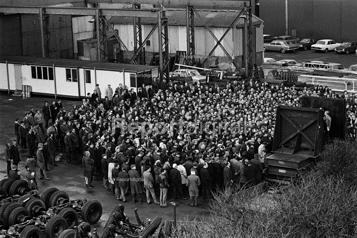 Mass meeting, strike and occupation of Coles Cranes, Sunderland 1973 against closure - Martin Mayer - 1973-02-20