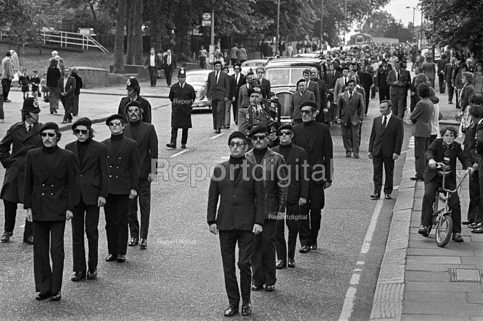 Funeral of Michael Gaughan, 1974 an Official IRA volunteer who died in Parkhurst prison after a 64 day hunger strike during which he was force fed. The procession passing through Kilburn, London - Martin Mayer - 1974-06-08