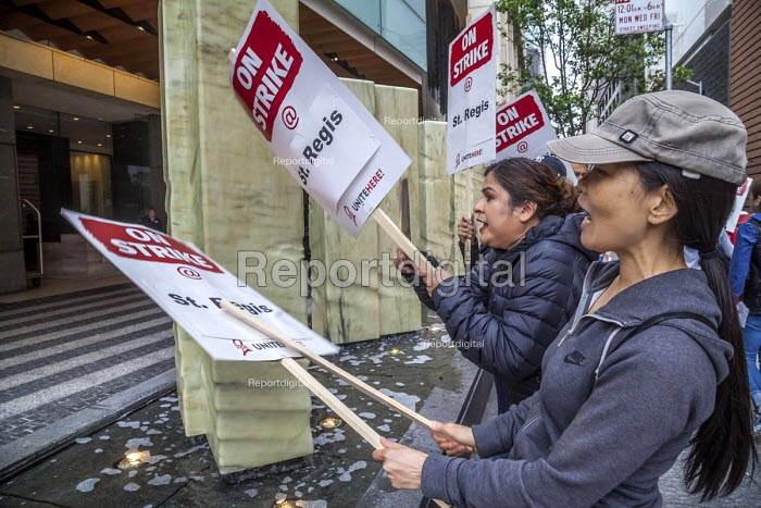 Oakland, California, USA Unite Here Hotel workers on strike against low wages, St. Regis Hotel. Many workers take an additional job to make a living wage. Workers are striking Marriott Hotels in eight cities - David Bacon - 2018-10-04