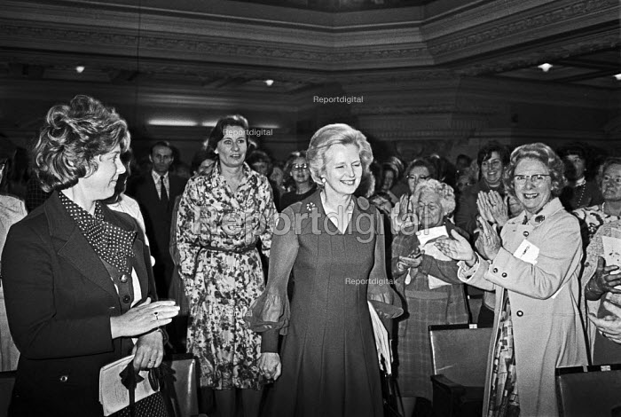 Margaret Thatcher arriving to applause Conservative Party Womens conference 1976 - Peter Arkell - 1976-05-20