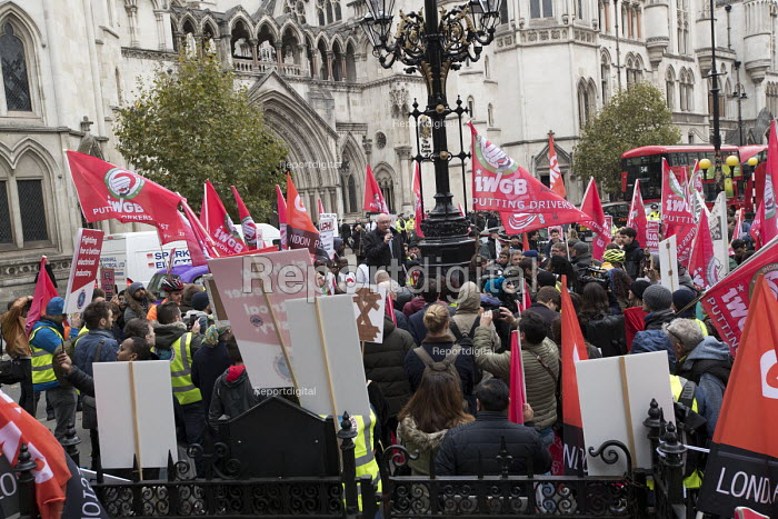 Dave Ward, CWU speaking Rise of precarious workers protest, supporting Uber drivers for employment rights in the High Court, organised by IWGB trade union, London - Jess Hurd - 2018-10-30