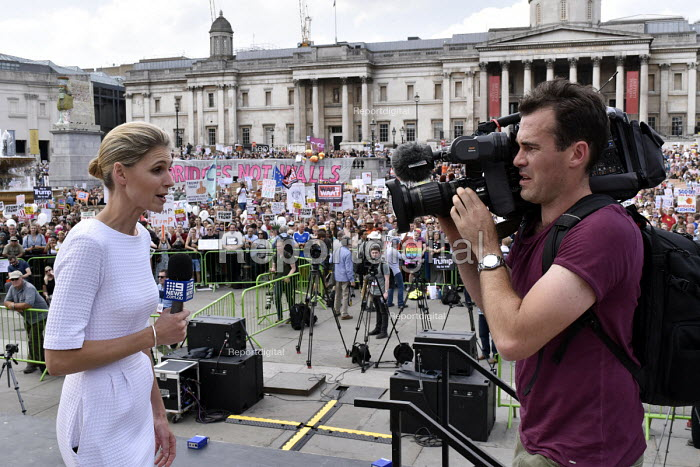 Australian TV news reporting from Trafalgar Square, London protest against visit to UK by US President Donald Trump - Stefano Cagnoni - 2018-07-13