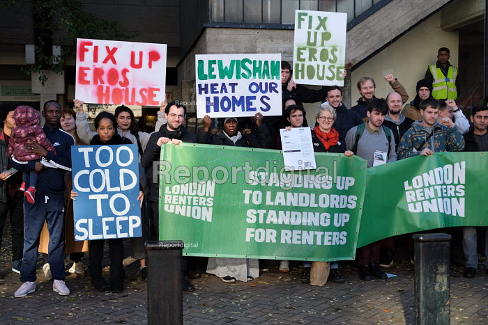 Residents of Eros House tower block protest about housing conditions, inadequate heating, disrepair, damp and anti social behaviour, supported by the Renters Union, Catford, Lewisham Council, South London, Too Cold To Sleep - Jess Hurd - 2018-11-13