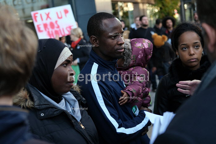 Residents of Eros House tower block protest about housing conditions, inadequate heating, disrepair, damp and anti social behaviour, supported by the Renters Union, Catford, Lewisham Council, South London - Jess Hurd - 2018-11-13