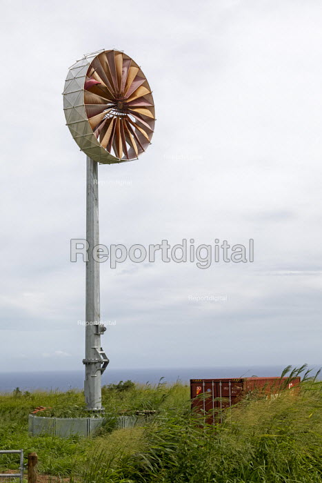 Ka Lae, Big Island, Hawaii: Wind turbine near South Point where the wind blows almost constantly. South Point is the southernmost point of the USA - Jim West - 2018-10-27
