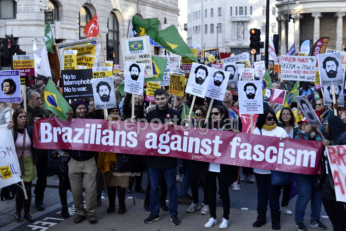 Stand Up To Racism protest demonstration London. Supporters of Brazilian democracy on the demonstration - Stefano Cagnoni - 2018-11-17