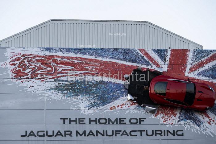 Union Jack advertisment for Jaguar Manufacturing, JLR factory, Castle Bromwich, Birmingham - John Harris - 2018-12-07