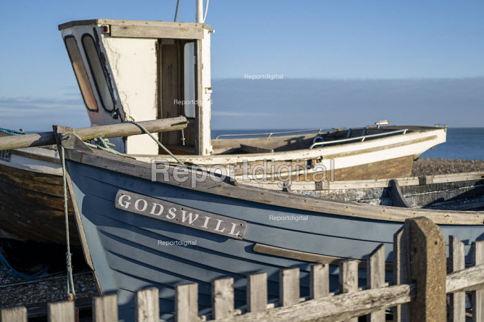 Gods will fishing boat where refugees arrived in a dingy from France, New Years Day, Deal, Kent. - Jess Hurd - 2019-01-01
