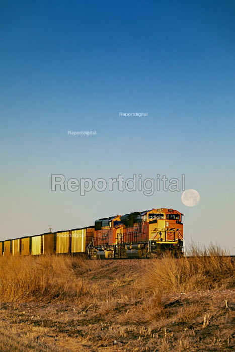 Nebraska Sandhills, USA, BNSF coal train. Each day as many as 100 coal trains, each about a mile long, carry coal from Powder River Basin, Wyoming to power stations across the country - Jim West - 2018-12-23
