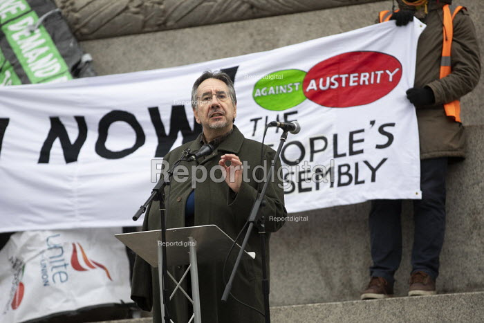 John Rees speaking Britain is Broken - General Election Now, People's Assembly protest, Trafalgar Square, London - Jess Hurd - 2019-01-12