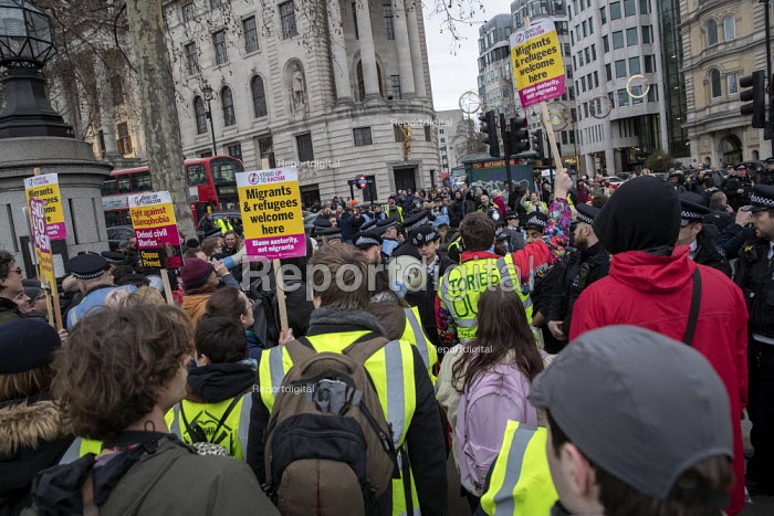 Britain is Broken - General Election Now, People's Assembly protest, Trafalgar Square, London against right wing yellow vest pro Brexit crowd, Trafalgar Square, London - Jess Hurd - 2019-01-12