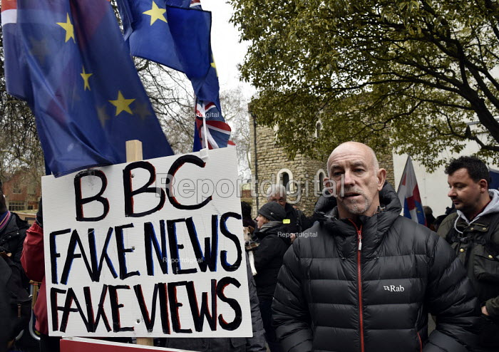 BBC Fake News. Protest as Parliament prepares to vote on Brexit, Westminster, London - Stefano Cagnoni - 2019-01-15