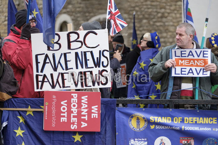 BBC Fake News Fake Views. Pro and anti Brexit protests as Parliament prepares to vote on Brexit, Westminster, London - Philip Wolmuth - 2019-01-15