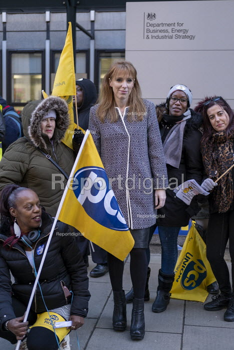 Angela Rayner MP, PCS strike, BEIS, London by outsourced cleaners, receptionists and security for a London Living Wage, sick pay and annual leave - Jess Hurd - 2019-01-22