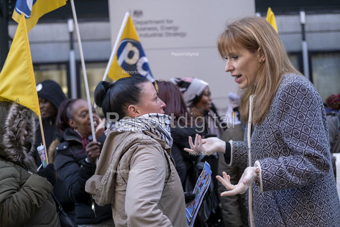 Angela Rayner MP with Katie Leslie PCS, supporting PCS strike, BEIS, London by outsourced cleaners, receptionists and security for a London Living Wage, sick pay and annual leave - Jess Hurd - 2019-01-22