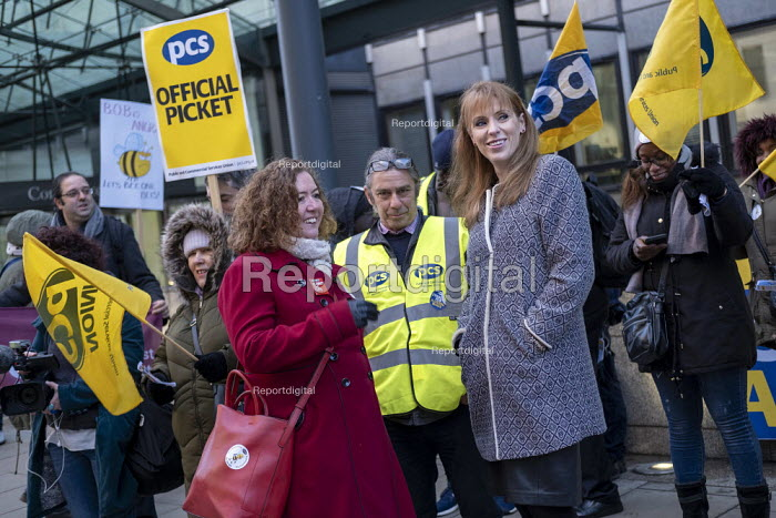 Angela Rayner MP, Fran Heathcote PCS, strike, BEIS, London by outsourced cleaners, receptionists and security for a London Living Wage, sick pay and annual leave - Jess Hurd - 2019-01-22