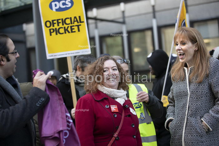 Fran Heathcote PCS, Angela Rayner MP, PCS strike, BEIS, London by outsourced cleaners, receptionists and security for a London Living Wage, sick pay and annual leave - Jess Hurd - 2019-01-22