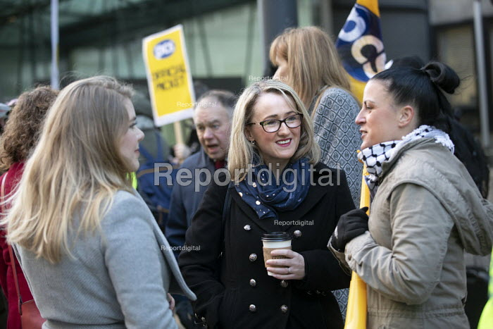 Rebecca Long-Bailey MP with Katie Leslie, PCS strike, BEIS, London by outsourced cleaners, receptionists and security for a London Living Wage, sick pay and annual leave - Jess Hurd - 2019-01-22