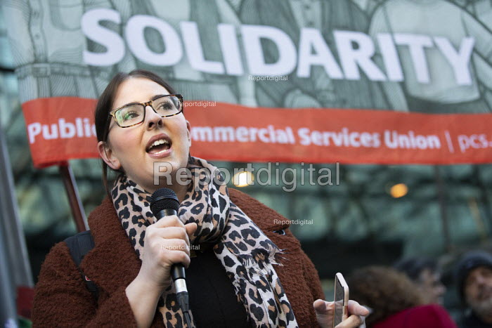 Laura Pidcock MP speaking, PCS strike, BEIS, London by outsourced cleaners, receptionists and security for a London Living Wage, sick pay and annual leave - Jess Hurd - 2019-01-22