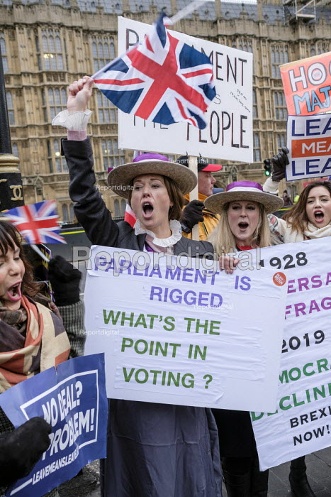 Brexit supporters dressed as Suffragettes protest, Houses of Parliament as MPs vote on amendments withdrawal deal with the EU, Westminster, London - Philip Wolmuth - 2019-01-29
