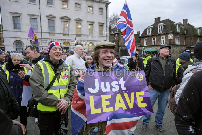 Just Leave. Brexit supporters protest, Houses of Parliament as MPs vote on amendments withdrawal deal with the EU, Westminster, London - Philip Wolmuth - 2019-01-29