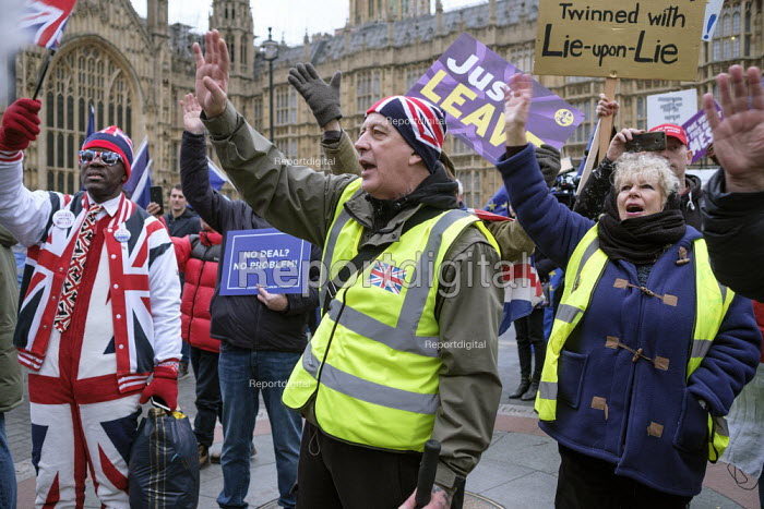 Brexit supporters protest, Houses of Parliament as MPs vote on amendments withdrawal deal with the EU, Westminster, London - Philip Wolmuth - 2019-01-29