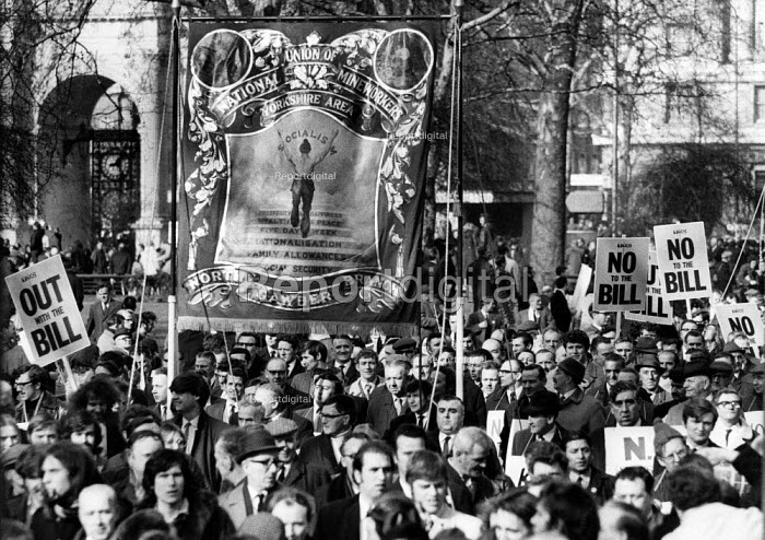 NUM banner, rally against the Industrial Relations Act, Trafalgar Square, London 1970 - Chris Davies - 1970-02-21