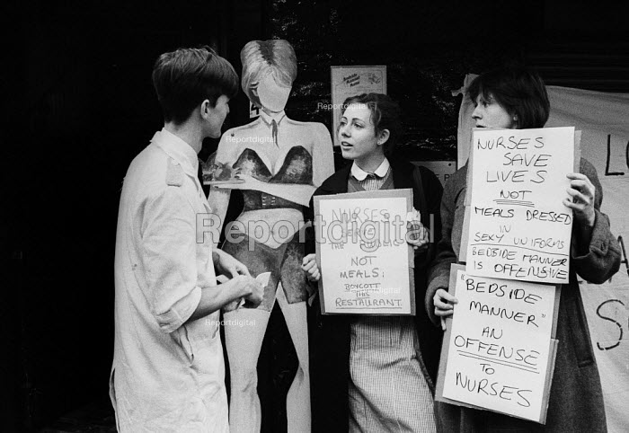 Nurses protest waitress uniforms, Bedside Manner Restaurant, London, 1985 against its policy of dressing waitresses in sexy nurse uniforms in order to attract male customers - Stefano Cagnoni - 1985-12-20