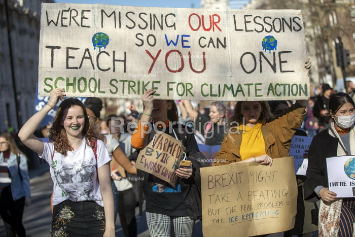 Climate strike students blocking the roads around Parliament Square, Westminster, London - Jess Hurd - 2019-02-15