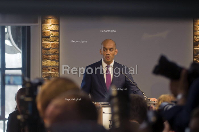 Labour split. Seven Labour MPs holding press conference following their resignation from the Labour Party to form The Independent Group. The seven MPs are Chris Leslie, Mike Gapes, Angela Smith, Luciana Berger, Ann Coffey, Chuka Umunna & Gavin Shuker. Chuka Umunna MP speaking at the press conference - Stefano Cagnoni - 2019-02-18