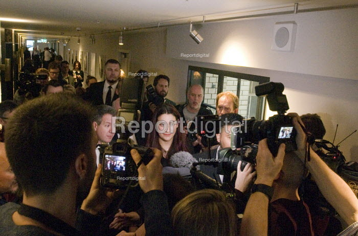 Labour split. Press chaos, seven Labour MPs leaving press conference following their resignation from the Labour Party to form The Independent Group. The seven MPs are Chris Leslie, Mike Gapes, Angela Smith, Luciana Berger, Ann Coffey, Chuka Umunna & Gavin Shuker - Stefano Cagnoni - 2019-02-18