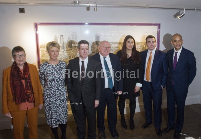 Labour split. Seven Labour MPs holding press conference following their resignation from the Labour Party to form The Independent Group. The seven MPs are Chris Leslie, Mike Gapes, Angela Smith, Luciana Berger, Ann Coffey, Chuka Umunna & Gavin Shuker - Stefano Cagnoni - 2019-02-18