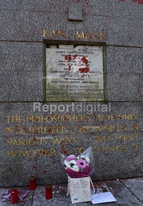 Marx Memorial vandalised, Highgate Cemetery, London. Memorial to Karl Marx after its initial cleaning to remove the worst of the graffiti that besmirched his grave - Stefano Cagnoni - 2019-02-17