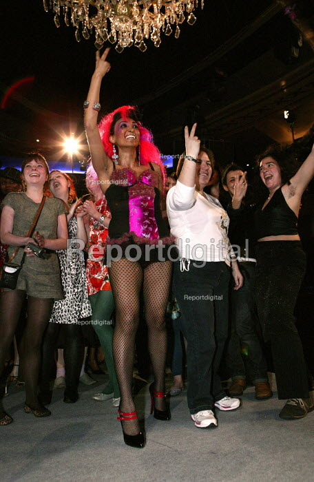 F*** OFF I'M A HAIRY WOMAN a fashion show promoting womens body hair with lingerie made of human hair by artist Tracey Moberly, London Fashion Week, Cafe de Paris, London - Jess Hurd - 2007-02-12