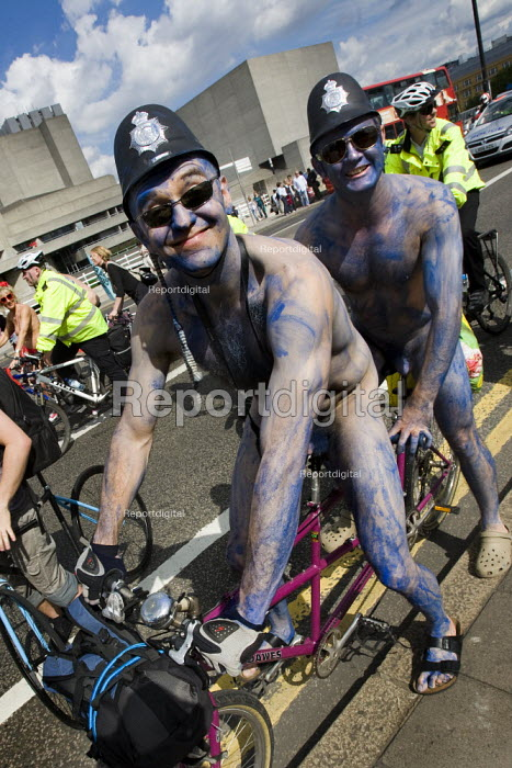 Cyclists impersonating policemen. World Naked Bike Ride. - Jess Hurd, jj090659.jpg