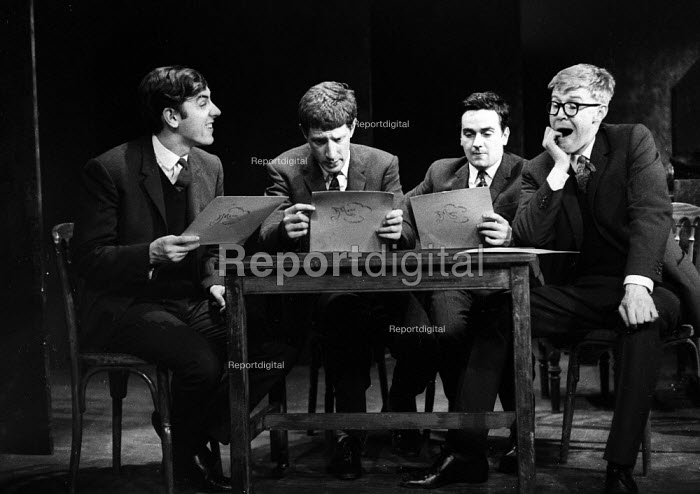 Peter Cook, Jonathan MIller, Dudley Moore, Alan Bennett 1961 in the 'Bread Alone' sketch, Beyond The Fringe show, The Fortune Theatre, London - Romano Cagnoni - 1961-06-11