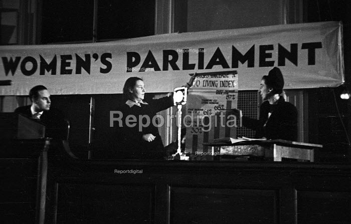 London Women's Parliament meeting,1947, debating price increases and inflation affecting British households - Felix H. Man - 1947-04-19