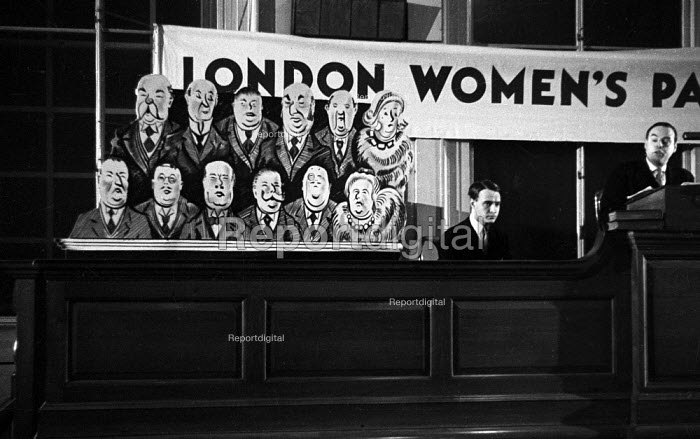 Caricacatures of the upper class, Women's Parliament meeting, London,1947, debating price increases and inflation affecting British households - Felix H. Man - 1947-04-19