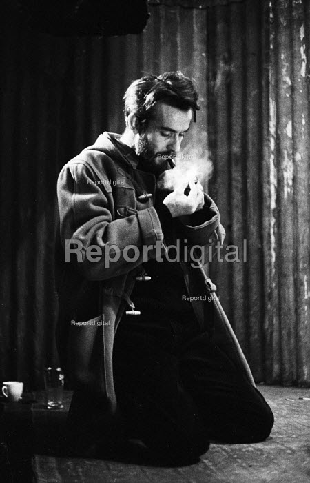 Athol Fugard on the set of The Blood Knot at the New Arts Theatre Hampstead London 1963. When first staged in South Africa 1961 the play was the first to feature a black and white actor on the public stage in the apartheid state and launched Fugard's professional career - Alex Low - 1963-02-20