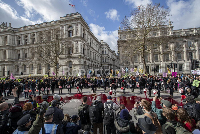Extinction Rebellion protest, activists throwing fake blood outside Downing Street to highlight climate change, Westminster, London - Jess Hurd - 2019-03-09