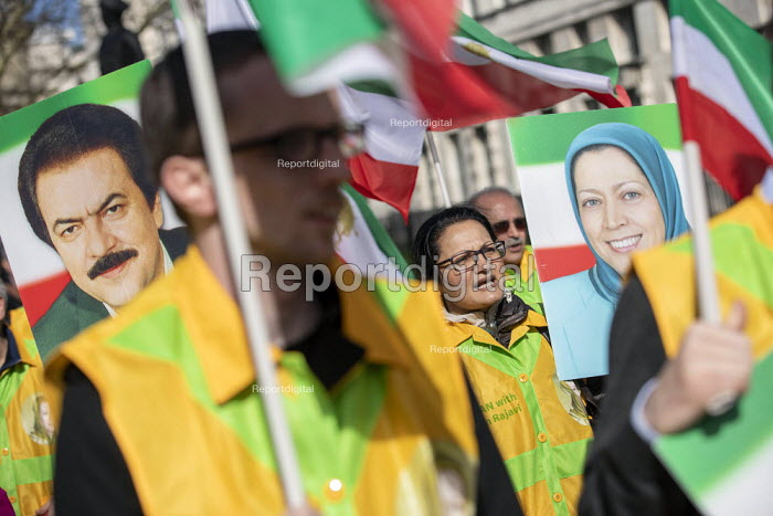 Iranians protest for exiled Maryam Rajavi (MEK) and against violence against women in Iran, Westminster, London - Jess Hurd - 2019-03-09